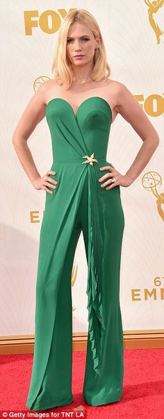 Ladies of Mad Men: Christina Hendricks, left, wore an elaborate embellished gown while Jessica Pare opted for a strapless hot pink gown with a knot at the bust. January Jones strutted her stiff in a green strapless jumpsuit with a gold brooch at the waist