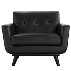 Engage Leather Armchair in Black