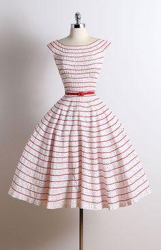 ➳ vintage 1950s dress * white cotton * red polka dot print * ric rak ribbon trim * detachable belt * metal back zipper condition | excellent
