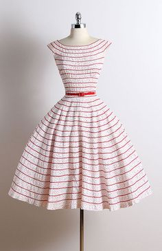 ➳ vintage 1950s dress * white cotton * red polka dot print * ric rak ribbon trim * detachable belt * metal back zipper condition | excellent