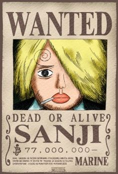 Poster One Piece Wanted Sanji (52X35)