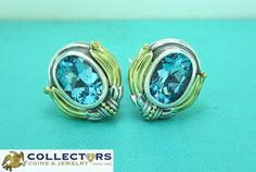RARE Caviar Lagos Sterling Silver 18K Yellow Gold Blue Topaz Earrings