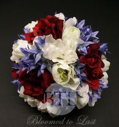 A beautiful #4th of July #flower #wedding bouquet. www.bloomedtolast.com WV, VA, MD, DC Wedding | Event  Wedding Design  Planning | Bloomed To Last