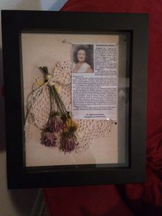 Shadow box of dried flowers from another funeral. **I like the lace doily idea** Shadow Box Memory, Flower Shadow Box, Flower Boxes, Funeral Planning, Funeral Ideas, Funeral Arrangements, Memorial Ornaments, How To Preserve Flowers, Preserving Flowers