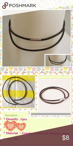 """Genuine leather double layer choker necklace Brown color genuine leather and stainless steel locker easy open and close brand new in package total length 28"""" Jewelry Necklaces"""