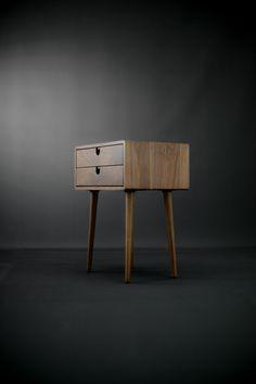 Walnut Mid-Century Scandinavian bedside Table / Nightstand in solid Walnut board , retro legs made of solid oak or walnut