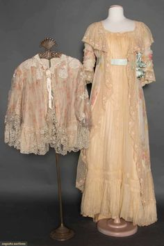 Silk NEGLIGEE and BED JACKET, Ivory chiffon printed w/pink and yellow roses, CF of ivory chiffon, blue silk ribbon at empire bodice and cuffs, embroidered floral baskets on wide net lace trims; t/w 1 floral printed chiffon bed jacket with lace trim.