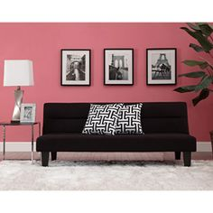 Kebo Futon Sofa Bed with Decorative Pillows, Black and White, I do like the Charcoal color that is also available.