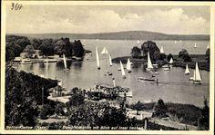 1935 Kladow Das foto zeigt den Hafen,rechts ist die Imchen-Insel zu sehen (ohne grosse Baeume)
