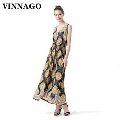 Vinnago Maxi Dress Long Summer Dresses Women 2017 Sundress Bohemian Casual Party Beach Long Dress Yellow Printed robe femme