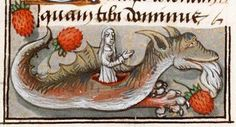 Margaret bursting out of the dragon's belly in a strawberry field The Hague, KB, 133 E 14
