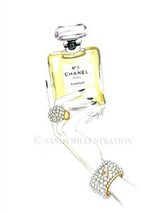 Chanel No 5 illustration by Fashion Illustrator SANDY M is available as a print at www.sandymillustration.com #sandym #chanel #illustration #print