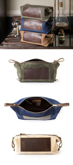 89f1ac61cf NO. 321 Personalized Convertible Leather Accented Dopp Kit