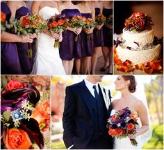 purple and orange fall wedding | ... Orange and purple flowers and bouquets... perfect for a fall wedding