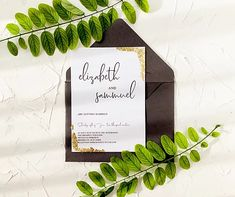 Invitatie gold leaf   ador Marriage