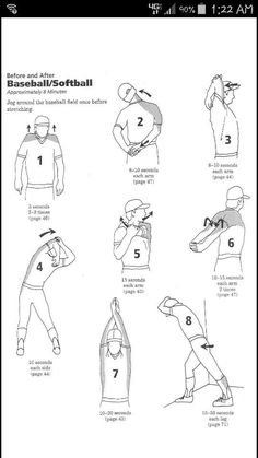 Softball or baseball stretches for warm ups and cool downs. Softball Workouts, Softball Drills, Softball Coach, Girls Softball, Fastpitch Softball, Softball Players, Softball Stuff, Baseball Stuff, Softball Quotes