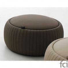 Plisse Pouf by Tonin Casa Pink Ottoman, Round Tufted Ottoman, Round Sofa, Ottoman Stool, Tire Furniture, Furniture Design, Upholstered Furniture, Leather Pouf, Leather Ottoman