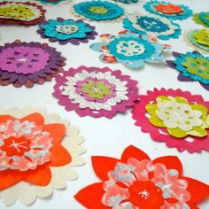 Quilted Paper Pinwheel Flowers in Assorted Colors  by rubyrockwell, $45.00