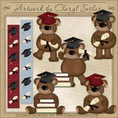 Graduation Bears 1 - Cheryl Seslar Country Clip Art : Digi Web Studio, Clip Art, Printable Crafts & Digital Scrapbooking!