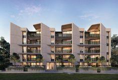 59 Ideas For Apartment Design Exterior Facades Residential Building Design, Building Exterior, Building Facade, Residential Architecture, Condominium Architecture, Design Exterior, Facade Design, House Design, Architecture Design