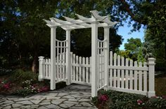 photo of arbor gate  | New England Arbor Fairfield Deluxe White Vinyl Garden Arbor with Gate ...