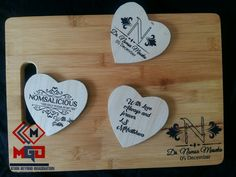 Laser engraved cutting board and coasters. Made with diy laser engraver.