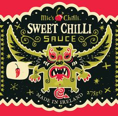 Let's assume that an illustrator and designer Steve Simpson is a fan of spicy sauces, or at least as some are standing in the closet. He illustrated the fact bottled chili sauce the Irish company 'Mic's Chilli'.
