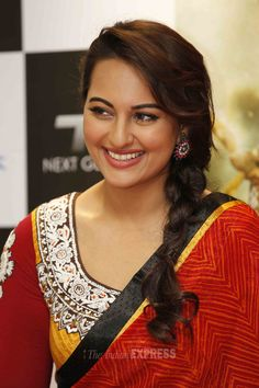 Sonakshi Sinha was beautiful as ever in a red sari, side braid and a smile at the launch of the comic series based on her action flick, 'R…Rajkumar'. #Bollywood #Style #Fashion #Beauty