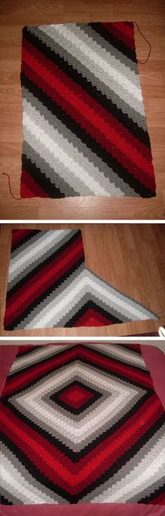 **UPDATE :: C2C Illusion Blanket, general instructions by Trish Smith (no specific written pattern). A very clever idea using corner-to-corner diagonal box stitch, with 4 panels joined as they are made. Color graph available on Ravelry page. **Here's the link for her joining tutorial on YouTube ~ http://www.youtube.com/watch?v=nd8cPylwbA0 . . . . ღTrish W ~ http://www.pinterest.com/trishw/ . . . . #crochet #afghan #throw