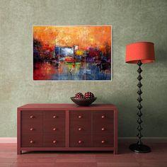 Large Orange PaintingAbstract PaintingLarge by chrisartpainting