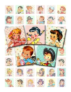 INSTANT DOWNLOAD Vintage Retro Kids 1 Inch by TheVintageRemix, $3.75
