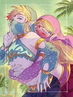 Gerudo Link and Zelda The Legend Of Zelda, Legend Of Zelda Memes, Legend Of Zelda Breath, Cry Anime, Anime Art, Gerudo Link, Image Zelda, Princesa Zelda, Elfa
