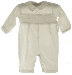Boys  Smocked Christening Long Sleeve Longall Outfit
