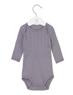Long-sleeved body with pointelle pattern - Gray purple