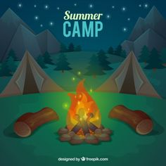 Summer camp background with bonfire Free Vector Camping Cartoon, Camping Drawing, Scout Camping, Boy Scouts, Vector Free, Clip Art, Vector Background, Drawings, Illustration