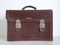 vintage dark brown leather expanding briefcase by epochco on Etsy, $120.00