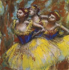 Trois danseuses, c. 1896    Pastel and charcoal on paper laid down on thin card , 56.2 x 50.8 cm