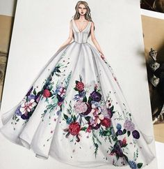 Floral gown... Ylime xxx #fashionsketches,