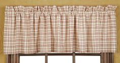 """Tacoma Lined Valance 16x72"""" by Victorian Heart Co., Inc.. $17.95. 100% cotton. Lined with premium 40""""s sheeting poplin.. As pictured.. Coordinating quilts, bedding, window treatments, and kitchen collection also available.. Valance 16""""x72"""". Tacoma features quilted items in a turned log cabin block pattern in wine, forest, crème and taupe. Quilted pieces are hand quilted with """"stitch in the ditch"""" quilting which reverses to a brown print floral fabric. The woven..."""