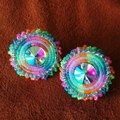 Native Anishnaabe Rainbow and Rhinestone Powwow Regalia Crystal Beaded Earrings Beaded Earrings Native, Seed Bead Earrings, Seed Beads, Beaded Jewelry, Handmade Jewelry, Native American Beading, Native American Jewelry, Flat Back Earrings, Powwow Regalia