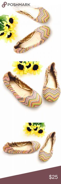 🆕 listing! BCBG Chevron Raffia Ballet Slippers Colorful ballet flats from BCBG.  New without box.  Size 7.  Woven upper.  Flexible synthetic sole. BCBG Shoes Flats & Loafers