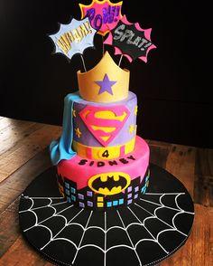 Super hero cake for girls! for more ideas follow @annhelmbaxter on instagram