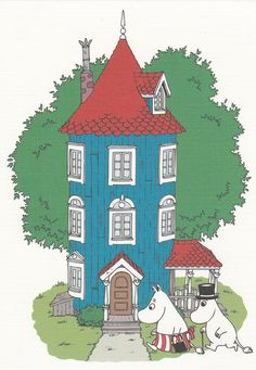 """The Moomin House"" by Tove Jansson Tove Jansson, Moomin House, Moomin Wallpaper, Moomin Valley, House Drawing, Beautiful Dream, Children's Book Illustration, Les Oeuvres, Martial"
