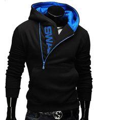 Hoodies Men 2017 Brand Male Long Sleeve Hoodie Side Zipper Letter Sweatshirt Mens Moletom Masculino Hoodies Slim Tracksuit 6XL T
