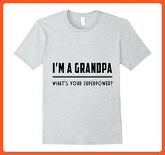 Mens I'm A Grandpa What's Your Supperpower Tshirt Father's Day  Large Heather Grey - Holiday and seasonal shirts (*Partner-Link)