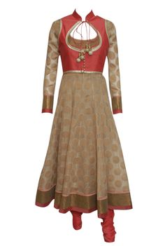 An elegant off white brocade anarkali with red keyhole koti