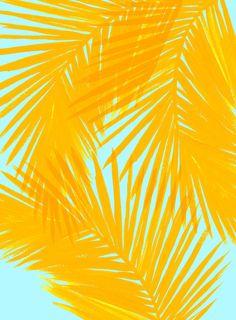Palms Tangerine & Blue Art Print
