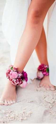 Great flower feet detail for a beach wedding.  If you want the best officiant for your Outer Banks, NC, ceremony, contact Rev. Barbara Mulford: myobxofficiant.com/ Bridal Sandals, Wedding Pinterest, Flower Crown, Anklets, Bride, Beach, Flowers, Rings, Ideas