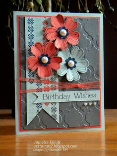 Stampin' Up! stamp set Flower Shop, pansy punch, Modern Mosaic embossing folder; AEstamps a Latte...: Birthday Wishes: cQc #201