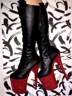 Black Skull Fire Strappy High Heel Boot